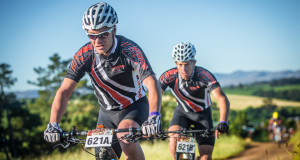 Tyler Day and JC Jooste of Team Bianchi/Westvaal continued their winning streak on Stage Two of the FNB Wines2Whales (W2W) Mountain Bike (MTB) Ride on Tuesday, 03 November 2015 crossing the finish line in an impressive time of 03 hours 05 minutes 03 seconds.  Seen here (left to right):  JC Jooste and Tyler Day of Team Bianchi/Westvaal take on Pofadder, an infamous section on the Stage Two route of the FNB Wines2Whales.  Photo Credit:  Volume Photography