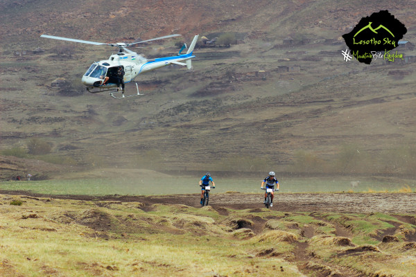 James Reid and Jens Schuermans being chased by the Maluti Sky chopper
