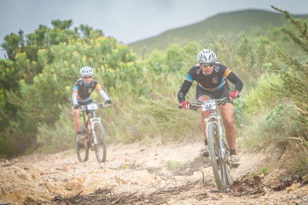 Stage Three of the FNB Wines2Whales Mountain Bike Adventure finished at the Onrust Caravan Park (just outside of Hermanus) on Sunday, 01 November 2015.  Seen here:  Simone Rhoda Van Aardt and Lolita Van Aardt in action on the day.  Photo Credit:  Volume Photography