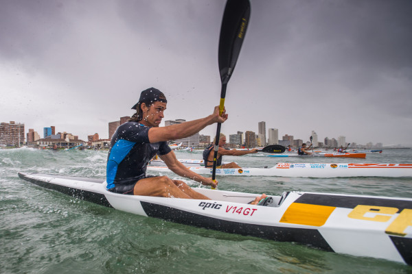 Epic Kayaks' Matt Bouman charges to victory in the Borland Surfski Challenge, race two of the 2016 Varsity College FNB Marine Surfski Series. Anthony Grote/ Gameplan Media