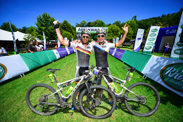 Karl Platt (left) and Tim Bohme of Team Bulls celebrate their dominant victory at the 2016 Fairview Attakwas Extreme Mountain Bike Challenge in South Africa on Saturday.  Photo credit: www.zooncronje.com