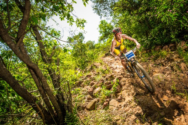 Seen here:  XTERRA Warrior Carla Van Huyssteen in action at the 2015 Fedhealth XTERRA Buffelspoort (North West Province).  Photo Credit:  Volume Photography