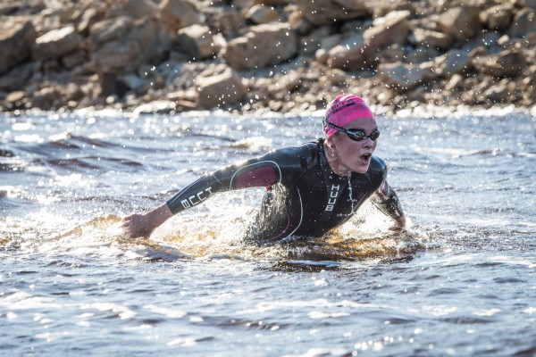 Reigning XTERRA World and XTERRA South African Champion, Flora Duffy will be seen in action at the 2016 Sanlam Cape Mile at the Grabouw Country Club on Sunday, 07 February 2016.  Seen here:  Flora Duffy in action at the 2015 Fedhealth XTERRA South African Championship that was held in Grabouw.  Photo Credit:  Volume Photography