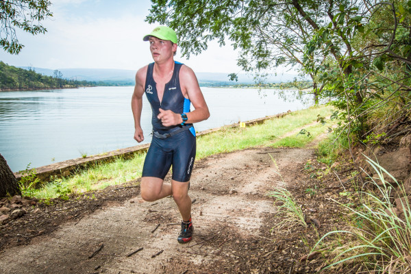 A weekend of action packed XTERRA racing was closed off at the Buffelspoort Dam on Sunday, 24 January 2016 when close to 750 multi-sport enthusiasts gathered to partake in the Fedhealth XTERRA Buffelspoort Lite.  Herbert Peters took the lead in the men's race, completing the 400m swim, 19km mountain bike discipline and 6km trail run in an impressive combined time of 01 hour 09 minutes 43 seconds.   Seen here:  Herbert Peters in action on the day.  PHOTO CREDIT:  Tobias Ginsberg