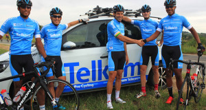 Former South African cycling great, Malcolm Lange (centre) welcomes some of the riders to his new professional cycling team, Team Telkom. From left are Reynard Butler, David Maree, Morne van Niekerk and Noland Hoffman.