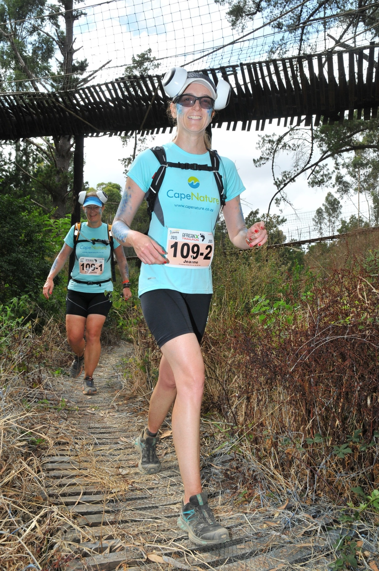Stillwater Sports, the organisers of South Africa's premier three day stage trail run, the AfricanX Trailrun presented by ASICS, are excited to continue working alongside CapeNature to ensure that the 8th running of this much talked about event is the most memorable one yet. Seen here (front to back):  Cape Nature's trail running team, Jeanne Gous and Antoinette Veldtman in action during the 2015 AfricanX Trailrun presented by ASICS.  Photo Credit:  Jetline Action Photo