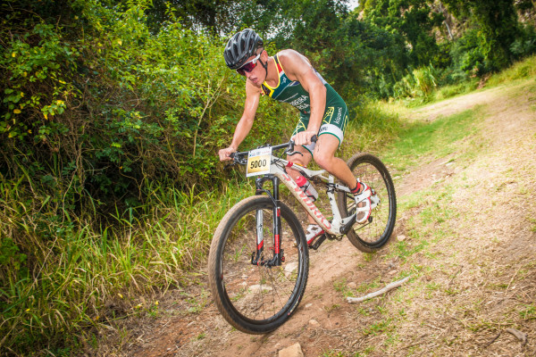 Michael Ferreira and Natia Van Heerden claimed gold at the Fedhealth XTERRA Lite Nelson Mandela Bay that took place at Kinds Beach on Sunday, 31 January 2016.  Seen here:  Michael Ferreira in action on the day.  Photo Credit:  Tobias Ginsberg