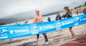Light rain could not deter the excitement felt at the start of the Western Cape's most exhilarating open water swim, the second annual Sanlam Cape Mile on Sunday, 07 February 2016.  The Men's Elite Race delivered on its promise with Myles Brown, Chad Ho and Danie Marais fighting it out from start to finish.  Myles Brown was the swimmer to beat completing the 1.6km swim in an impressive time of 17 minutes 56 seconds.  Seen here:  Myles Brown claiming victory on the day.  Photo Credit:  Tobias Ginsberg