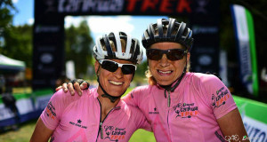 Robyn de Groot (left) and Jennie Stenerhag of Ascendis Health were delighted to defend their title in the women's race at the DUTOIT Tankwa Trek international mountain bike stage race in South Africa on Sunday. Photo credit: www.zooncronje.com