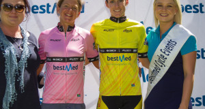 Nolan Hoffman of Team Telkom won the first stage of the Bestmed Tour of Good Hope at La Paris Estate outside Paarl today. Photo: Capcha