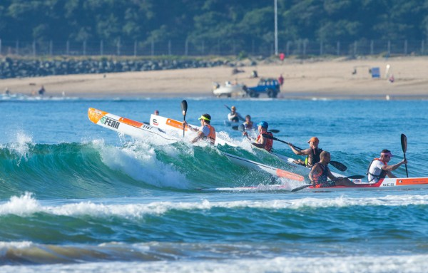 Paddlers surf skills will again be tested at the Lion of Africa Surf challenge, race three the Bay Union Surfski Series. Topfoto/Gameplan Media
