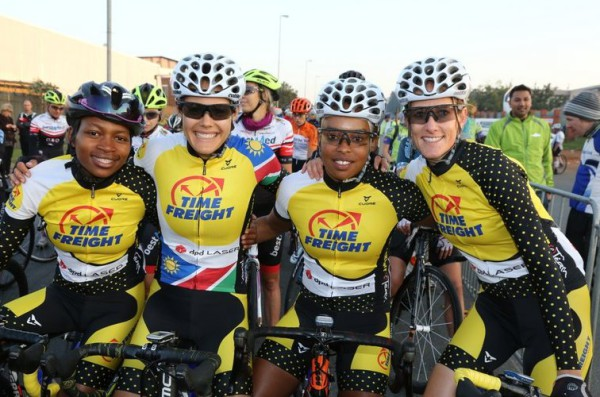 Time Freight eTeam's Zanele Tshoko (left), Vera Adrian (second left), Rozalia Kubyana (second right) and Lise Oliver (right) - together with Carla van Huyssteen - will be tough to beat come this Sunday's 2016 aQuellé Tour Durban women's race. Cycle Nation/ Gameplan Media