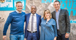 The streets of Johannesburg will be bustling with excitement on Saturday, 24 September 2016 (National Heritage Day) when runners, walkers and fitness enthusiasts gather to explore their city at the inaugural FNB Joburg 10K CITYRUN.  Seen here at the event launch (from left to right):  Grant Hamilton (PUMA Sports Marketing Manager), Themba Mabizela (FNB Business -Provincial Head, Gauteng South and Central), Alexia Poulos (947 Marketing Manager) with Michael Meyer (Managing Director of Stillwater Sports).  Photo Credit:  Tobias Ginsberg