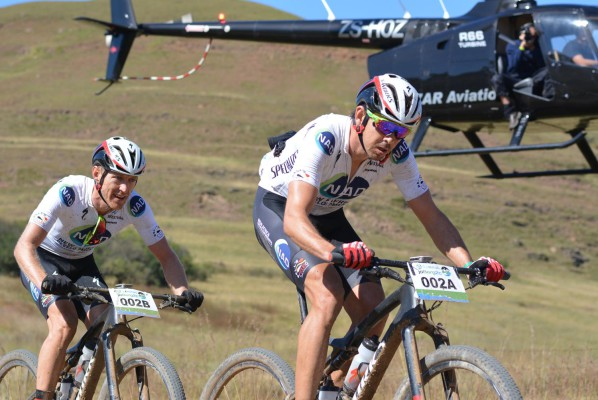 Nico Bell (front) and Gawie Combrinck of NAD Pro en route to winning the sixth stage of the 2016 Old Mutual joBerg2c between Nottingham Road and Glencairn on the Sani Pass road. Photo: Full Stop Communications
