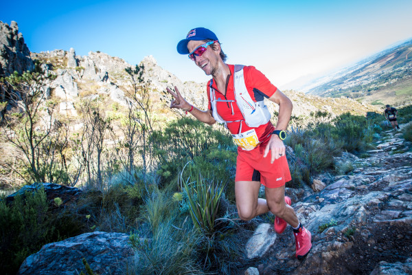 Known as a force to be reckoned with on the endurance racing circuit, trail legend Ryan Sandes will be seen taking on the faster paced 15km Cell C Arabella Trail Run Challenge at the picturesque Arabella Hotel & Spa in Kleinmond on Sunday, 24 April 2016.  Seen here:  Ryan Sandes in action at the 2016 Cell C AfricanX Trailrun presented by ASICS.  Photo Credit: Tobias Ginsberg