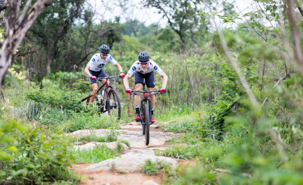 The NAD Pro MTB Team pair of Gawie Combrinck (front) and Nico Bell (back) have thrown their names into the 2016 KAP sani2c starting at Glencairn Farm outside Himeville from 12-14 May 2016. JB Badenhorst/ Gameplan Media