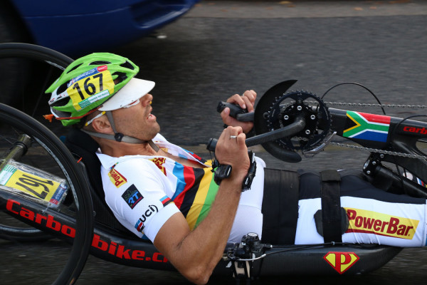Du Preez at a paracycling World Cup event at Yverdonne les Baines in Switzerland last year. Photo: Supplied