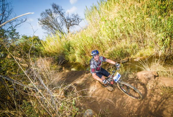 Returning to the ATKV in Buffelspoort on Saturday, 21 May 2016 the action-packed FNB Magalies Monster Mountain Bike (MTB) Classic will be the first regional points event for the Gauteng North Cycling (GNC) region.  Seen here:  Mountain biker Dirk Griesel during the 2015 FNB Magalies Monster Mountain Bike (MTB) Classic.  Photo Credit:  Tobias Ginsberg