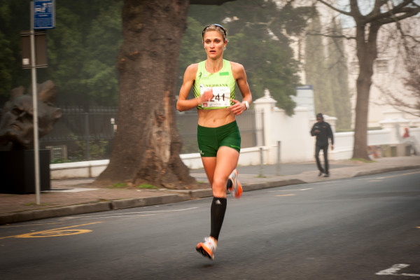 This coming Sunday, 15 May 2016 Irvette van Zyl will have a crack at Elana Meyer's 12km record at the 2016 FNB Cape Town 12 ONERUN.  Seen here:  Irvette Van Zyl in action.  Photo Credit:  Cherie Vale