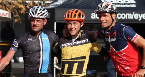 2.	The solo men's podium, from right to left: Shan Wilson, Dylan Rebello and Nico Pfitzenmaier.  Photo by: Bike Centre Knysna.