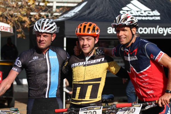 2.The solo men's podium, from right to left: Shan Wilson, Dylan Rebello and Nico Pfitzenmaier.  Photo by: Bike Centre Knysna.