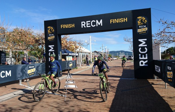 6.Ian Jantjies and Brandon Williams of the Knysna Sport School crossing the line to claim victory in the Open Men's race. Photo by: Seamus Allardice.