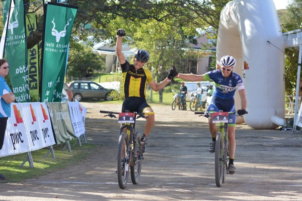 Adriaan Louw (left) and Andrew Hill of TIB Insurance-Contego win the second stage of the 2016 PwC Great Zuurberg Trek. Photo: Full Stop Communications