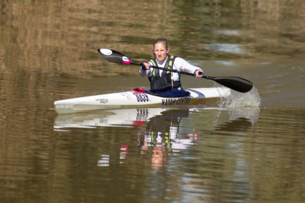 Following a slow start on the opening day Mac Squad's Jenna Ward made a solid charge into second place in the women's race after the second stage of the 2016 Berg River Canoe Marathon on Thursday. John Hishin/ Gameplan Media