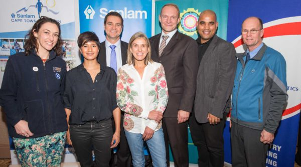 Image names from left to right: Tara McGovern (SPCA), Kamini Pather  (Masterchef SA Winner), Carl Roothman (Chief Executive of Sanlam Investments Retail Business), Elana Meyer (Race Ambassador), Francois Pienaar (Race Ambassador), Cllr  Eddie Andrews ( City of Cape Town), Jakes Jacobs (EXCO)