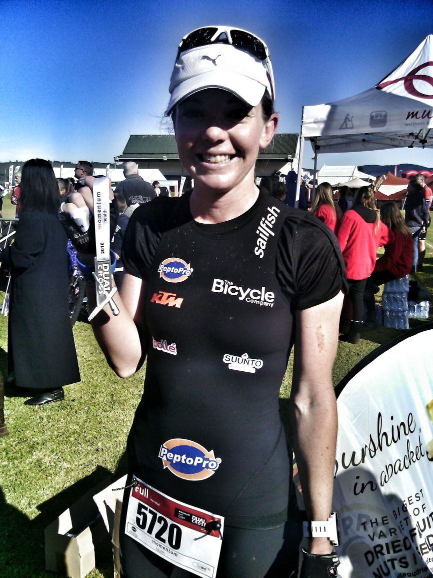 Andrea finished in a time of 1h53m ahead of 2nd placed Fienie Barnard.