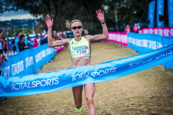 A record field of just over 6 000 runners and walkers gathered at the Berea Rovers Sports Club in Durban on Sunday, 17 July 2016 to partake in the much anticipated Totalsports Women's Race in support of PinkDrive.  The 10km Totalsports Women's Race unfolded into a battle between PUMA Ambassadors and reigning champions Lebo and Lebogang Phalula and Irvette Van Zyl.  Van Zyl proved to be the stronger runner on the day claiming a much deserved victory in a time of 33 minutes 02 seconds.   Seen here:  Irvette Van Zyl claiming victory at the Berea Rovers Sports Club in Durban on Sunday, 17 July 2016.  Photo Credit:  Tobias Ginsberg