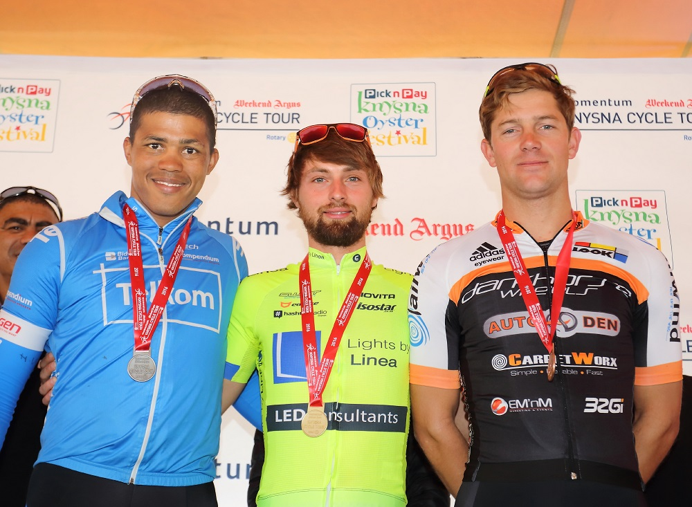 Mens Elite Road Race winners L2R Nolan Hoffman - Stefan Ihlenfeldt - Tyler Day - pic by Desmond Scholtz low res