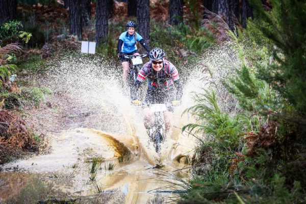 Bernhard Scmidt ploughs through a puddle during day two of the Glacier Storms River Traverse mountain bike stage race held at the The Tsitsikamma Village Inn situated in Storms River Village on the Garden route, South Africa on the 6th August 2016 Photo by: Oakpics.com / Dryland Event Management / SPORTZPICS {dem16gst}