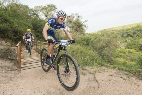 TIB Insurance's Andrew Hill charges to victory during his debut appearance at the Sappi Scottburgh MTB Race, the third leg of the South Coast MTB Series. Anthony Grote/ Gameplan Media