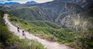 Mountain bikers take part in the annual TransBaviaans 2016 24hr MTB Race, from Willowmore to Jeffreys Bay through the Baviaanskloof Wilderness World Heritage Site, near Patensie, Eastern Cape, RSA