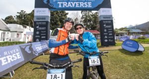 Johan and Ronelle Engelbrecht celebrate at the finish of day two of the Glacier Storms River Traverse mountain bike stage race held at the The Tsitsikamma Village Inn situated in Storms River Village on the Garden route, South Africa on the 6th August 2016  Photo by: Oakpics.com / Dryland Event Management / SPORTZPICS   {dem16gst}