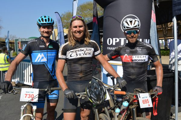 The top three in the 50km Bestmed Cycle4Cansa MTB Classic at Sun City on Saturday were, from left, Henry Uys (third), Alex Pavlov (first) and Pieter Seyffert (second). Photo: Full Stop Communications