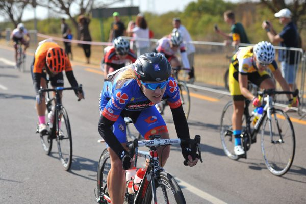 Charleen du Preez crosses the finish line to win the ladies category race in the Bestmed Cycle4Cansa Road Classic, hosted by Sun City, 21 August 2016, in the North West Province. Picture: Michel Bega
