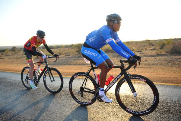 Nolan Hoffman (right) competes in the Bestmed Cycle4Cansa Road Classic, hosted by Sun City, 21 August 2016, in the North West Province. Picture: Michel Bega