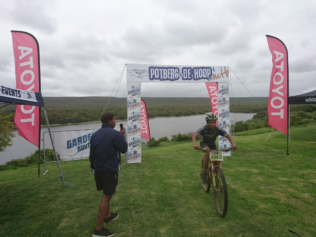 6.Brandon Williams, of the Knysna Sport School, crosses the finish line on Day One of the Potberg and De Hoop MTB. Photo by: Seamus Allardice.