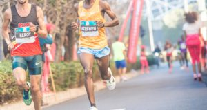 The two athletes everyone can't wait to see race each other on the road over 10 or 21km, 31 year-old Lesego Stephen Mokoka and 30 year-old Elroy Gelant, will face-off on Saturday, 24 September 2016 (Heritage Day) at the inaugural FNB Joburg 10K CITYRUN.  Seen here (from left to right):  Elroy Gelant and Stephen Mokoka in action at the FNB Cape Town 12 ONERUN earlier this year.  Mokoka secured the top spot on the podium, with Gelant finishing in 3rd place.  Photo Credit:  Tobias Ginsberg