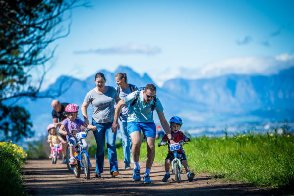 The picturesque Meerendal Wine Estate was buzzing with excitement on Saturday, 03 September 2016 when junior mountain bike enthusiasts of all ages gathered to partake in the much anticipated Fedhealth Kids MTB Events. Seen here: Junior MTB enthusiasts in action on the day. PHOTO CREDIT: Tobias Ginsberg