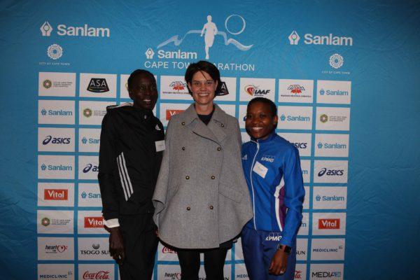 Jane Jepkosgei Kiptoo - Kenya, Mariska Oosthuizen – Head of Sanlam brand, Keneilwe Sesing – South Africa.