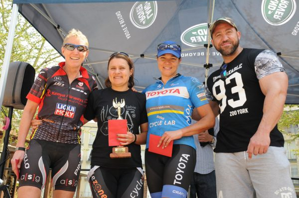 Nadine Visagie of Cyclezone (second from left) won the 40km women's event at the Land Rover West Rand Silverstar MTB Challenge in Krugersdorp. Photo: Jetline