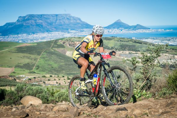 The second annual Fedhealth MTB Challenge kicked off at the majestic Meerendal Wine Estate on Sunday, 04 September 2016.  Erik Kleinhans claimed gold in the men's race in a time of 02 hours 36 minutes 06 seconds, while Vera Adrian was the lady to beat crossing the finish line first in 03 hours 19 minutes 30 seconds.  Seen here:  Vera Adrian in action on the day.  Photo Credit:  Tobias Ginsberg