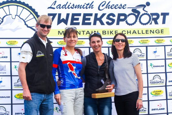 Ladismith Cheese 7Weekspoort MTB Challenge women's 82km podium. From left to right: Ronaldo Groenewald (CEO Ladismith Cheese), Alma Colyn (3rd), Yolande de Villiers (1st) and Shani Morton (Western Province Cycling). Not pictured: Fienie Barnard (2nd). On the 1st October 2016 Photo by:    /Oakpics/ SPORTZPICS {dem16gst}