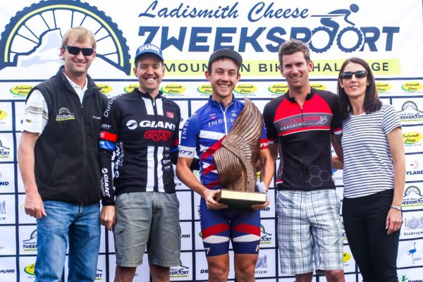 Ladismith Cheese 7Weekspoort MTB Challenge men's 82km podium. From left to right: Ronaldo Groenewald (CEO Ladismith Cheese), David Garret (2nd), Dylan Rebello (1st), Pieter Gildenhuys (3rd) and Shani Morton (Western Province Cycling). On the 1st October 2016 Photo by:    /Oakpics/ SPORTZPICS {dem16gst}