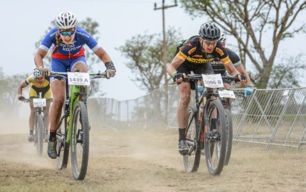 Candice Neethling (Dorma Time Freight) powers home hot on the heels of Robyn de Groot and Jennie Stenerhag (Team Ascendis Health) at the Grindrod Bank Berg & Bush three-day stage race in KwaZulu-Natal. Neething and teammate Vera Adrian started the day in the overall lead and almost lost it when De Groot and Stenerhag opened up a two-minute time gap. In the end, Neethling and Adrian were strong enough to reel them in.