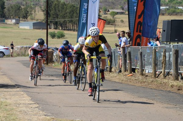Time Freight's Lise Olivier sprints to victory in the Bestmed Satellite Classic at Saloon Route 66 near Hartbeespoort Dam on Saturday. Photo: Jetline Action Photo