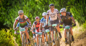 "The 4th annual Pennypinchers Origin Of Trails two day mountain bike (MTB) stage race will return to the picturesque City of Oaks on Saturday, 03 and Sunday, 04 December 2016.  ""Stellenbosch is a mountain biking mecca,"" says Michael Meyer, Managing Director of Stillwater Sports.  ""After an intense season of racing we are excited to treat mountain bikers to an event that celebrates the fun side of mountain biking.  Whether an elite or social rider, all sporting enthusiasts are invited to enjoy their favorite sport in a social setting with family and friend.""  Seen here:  South Africa's elite mountain bikers taking it easy on route,  enjoying the sport of mountain biking at the 2015 Pennypinchers Origin Of Trails two day mountain bike (MTB) stage race.  Photo Credit:  Tobias Ginsberg"